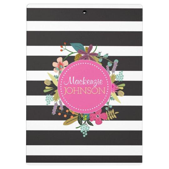 Schwarz-weißer Streifen-Blumenklemmbrett