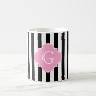 Schwarz-weißer Streifen, rosa Quatrefoil Monogramm Kaffeetasse