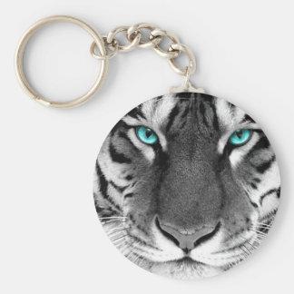 Schwarz-weißer Tiger Standard Runder Schlüsselanhänger