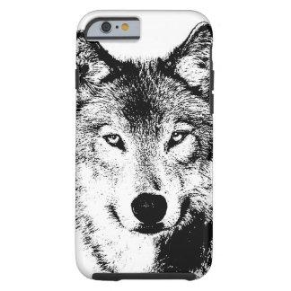 Schwarz-weißer Tinten-Grafik-Wolf starker iPhone 6 Tough iPhone 6 Hülle