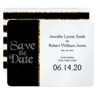 Schwarz-weißer und GoldGlitter, der Save the Date 10,8 X 14 Cm Einladungskarte