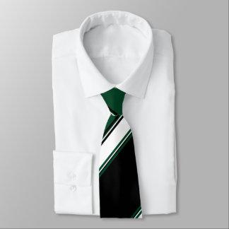 Schwarz-weißer und immergrüner Hochschulstreifen Krawatte