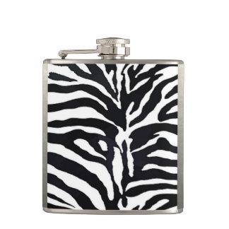 Schwarz-weißer Zebra-Druck Flachmann