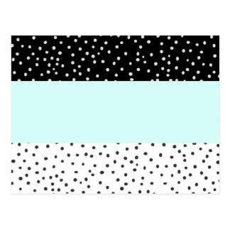 Schwarz-weißes aquamarines postkarte