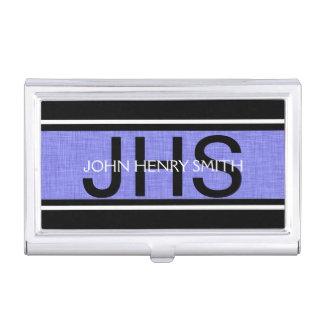 Schwarz-weißes Blau des Monogramms der Männer Visitenkarten-Halter