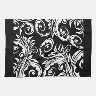 Schwarz-weißes Blumenpaisley-Muster Handtücher