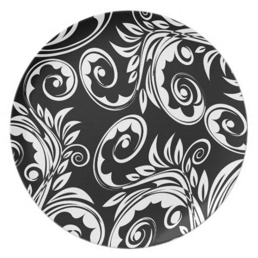 Schwarz-weißes Blumenpaisley-Muster Flacher Teller