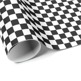 Schwarz-weißes Checkered Flaggen-Muster Geschenkpapier