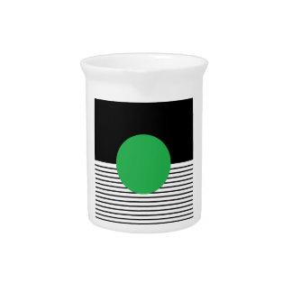 Schwarz-weißes Colorblock u. grüner Kreis Krug