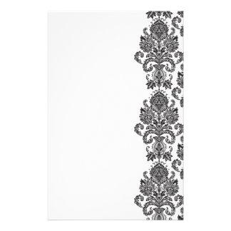 Schwarz-weißes Damast-Briefpapier Druckpapier