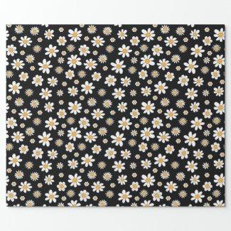 schwarz-weißes Design mit Blumen Geschenkpapier
