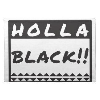 Schwarz-weißes Entwurfsgeschenk des Holla, T-Shirt Tischset