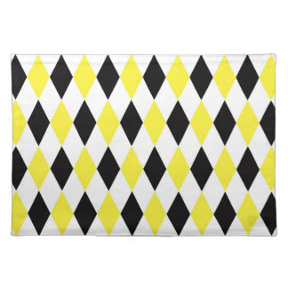 Schwarz-weißes gelbes Harlekin-Diamant-Muster Stofftischset