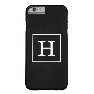 Schwarz-weißes gerahmtes Anfangsmonogramm Barely There iPhone 6 Hülle