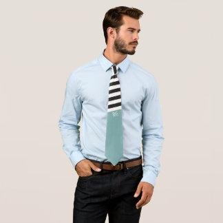 Schwarz-weißes gestreiftes Muster-mit Monogramm Individuelle Krawatte