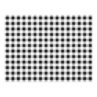 Schwarz-weißes Gingham-Muster Postkarte