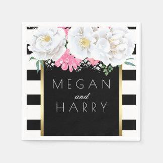 Schwarz-weißes GoldVintage mit Blumenhochzeit Papierservietten