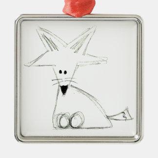 Schwarz-weißes graues einfaches Kinderzeichnen des Quadratisches Silberfarbenes Ornament