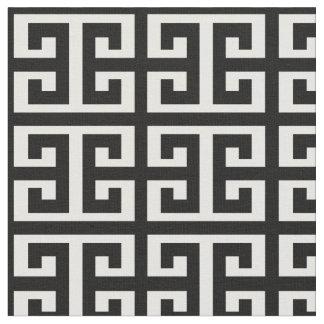 Schwarz-weißes griechisches Schlüsselgewebe Stoff