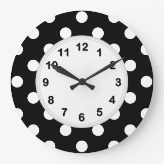 Schwarz-weißes großes Polka-Punkt-Muster Große Wanduhr