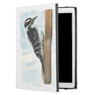 Schwarz-weißes haariges Specht-Vogel iPad Profall