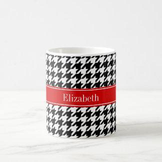 Schwarz-weißes Hahnentrittmuster-rotes Tasse