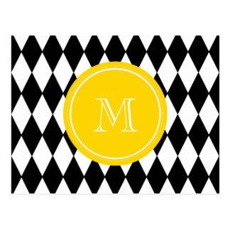 Schwarz-weißes Harlekin-Muster, gelbes Monogramm Postkarte