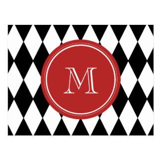 Schwarz-weißes Harlekin-Muster, rotes Monogramm Postkarte