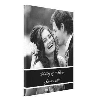 Schwarz-weißes Hochzeits-Foto personalisiert Galerie Faltleinwand