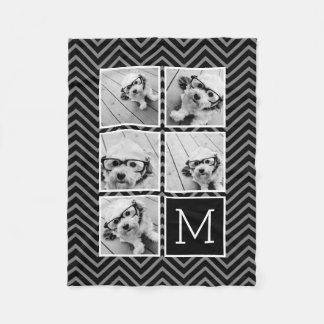 Schwarz-weißes Instagram 5 Foto-Collagen-Monogramm Fleecedecke