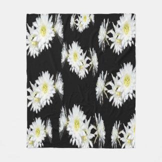 Schwarz-weißes Kaktus-Neid-Blumen-Muster, Fleecedecke