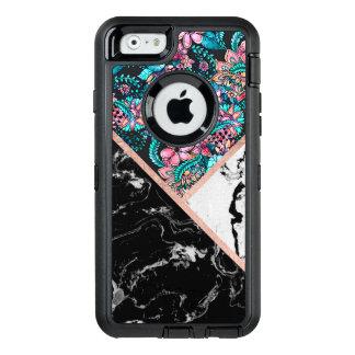 Schwarz-weißes MarmorRosengoldblumenfarbblock OtterBox iPhone 6/6s Hülle