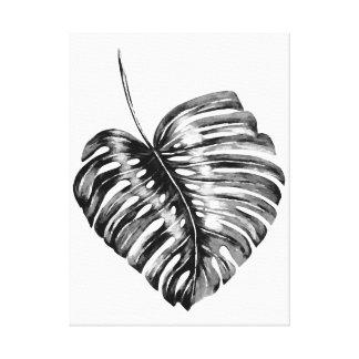 Schwarz-weißes monstera Palmblatt tropischer Leinwanddruck