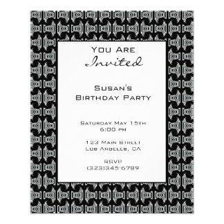 Schwarz-weißes Muster-Party laden ein 11,4 X 14,2 Cm Flyer