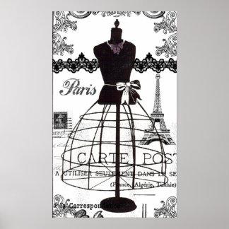 Schwarz-weißes Paris-Mode-Mannequin Poster
