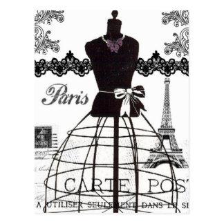 Schwarz-weißes Paris-Mode-Mannequin Postkarte