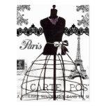 Schwarz-weißes Paris-Mode-Mannequin Postkarten