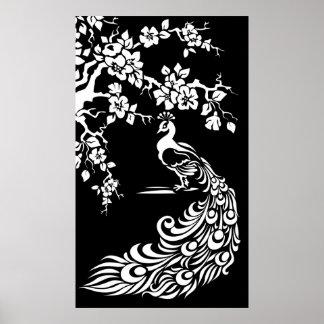 Schwarz-weißes Pfau- und Kirschblütenplakat Poster