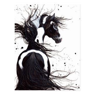 Schwarz-weißes Pinto-Farben-Pferd durch Bihrle Postkarte