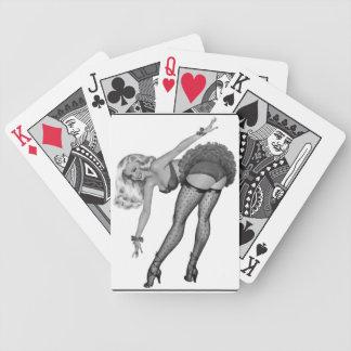 Schwarz-weißes PinUp-Mädchen-Retro Bicycle Spielkarten