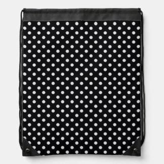Schwarz-weißes Polka-Punkt-Muster Turnbeutel