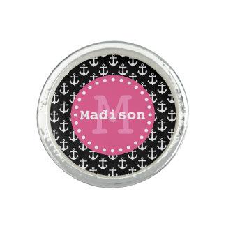 Schwarz-weißes rosa Anker-Muster-Monogramm Ring