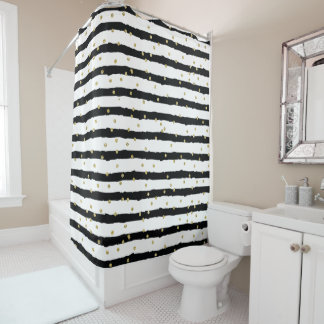 Schwarz-weißes Streifen-Goldfunkelnd Confetti Duschvorhang