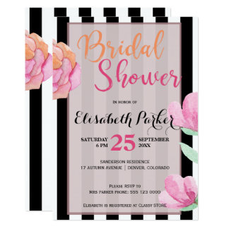 Schwarz-weißes Streifen-mit BlumenBrautparty des 12,7 X 17,8 Cm Einladungskarte