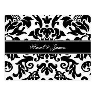 Schwarz-weißes u. graues Damast Hochzeit UAWG Postkarte