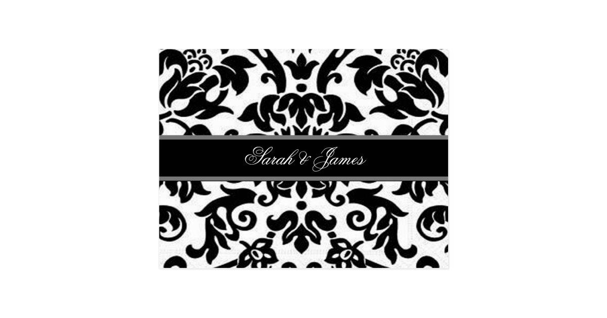schwarz wei es u graues damast hochzeit uawg postkarte zazzle. Black Bedroom Furniture Sets. Home Design Ideas
