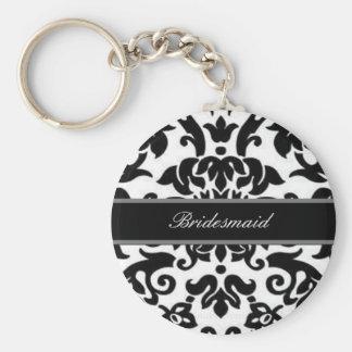 Schwarz-weißes u. graues Damast Hochzeits-Set Standard Runder Schlüsselanhänger
