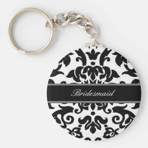 Schwarz-weißes u. graues Damast Hochzeits-Set Schlüsselbänder