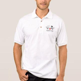 Schwarz-weißes u. rotes polo shirt