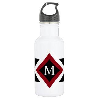 Schwarz-, weißes u. Rotesstilvolles rautenförmiges Trinkflasche